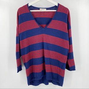 Madewell striped v neck oversize sweater